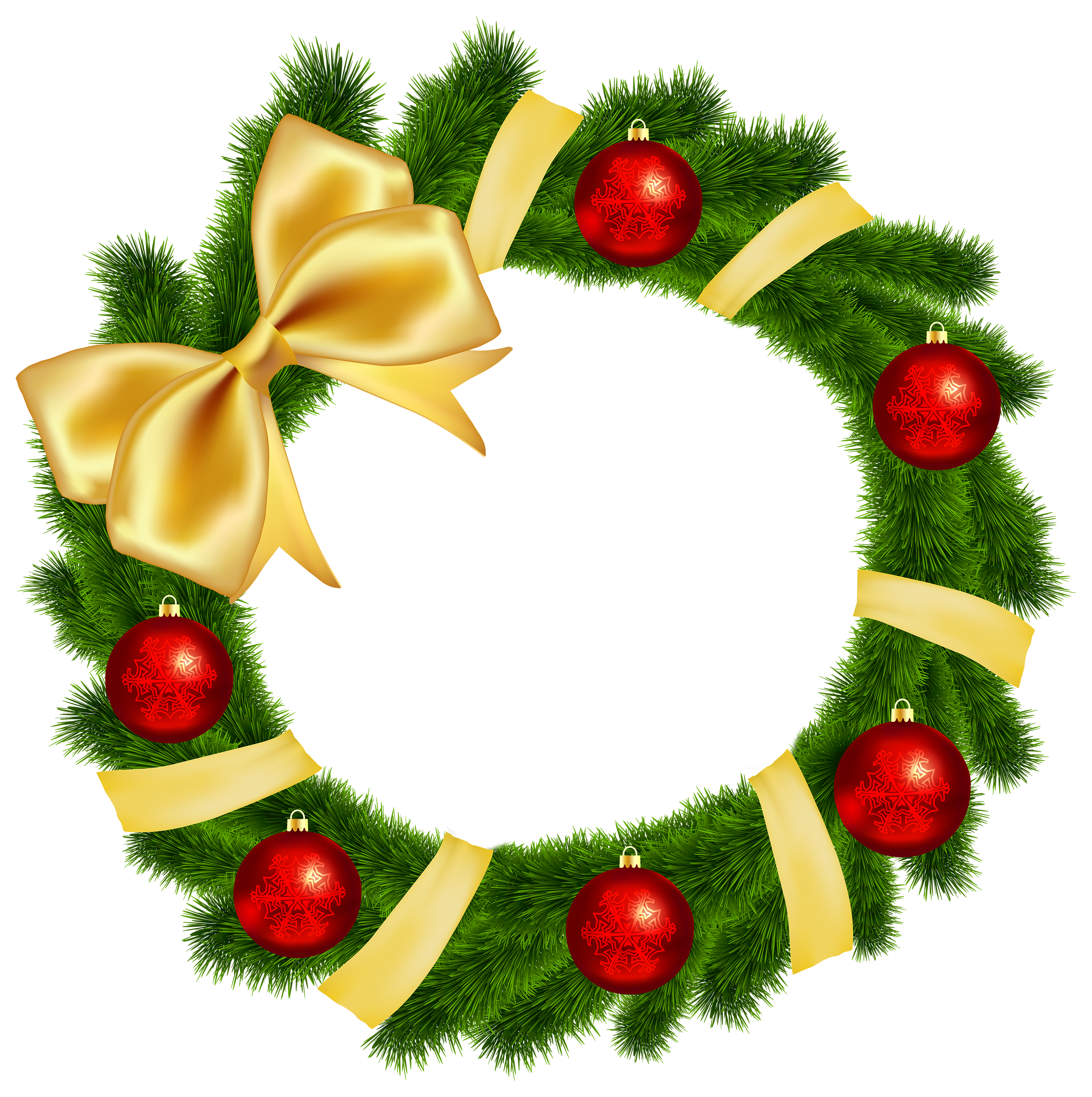 Christmas Wreath with Yellow Bow Transparent PNG Clip Art