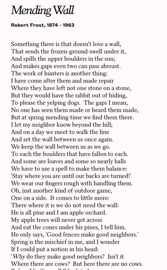 what is the poem mending wall about