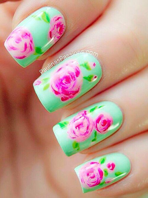 Shabby chic nails   NAILS   Pinterest   Shabby chic nails, Green ...