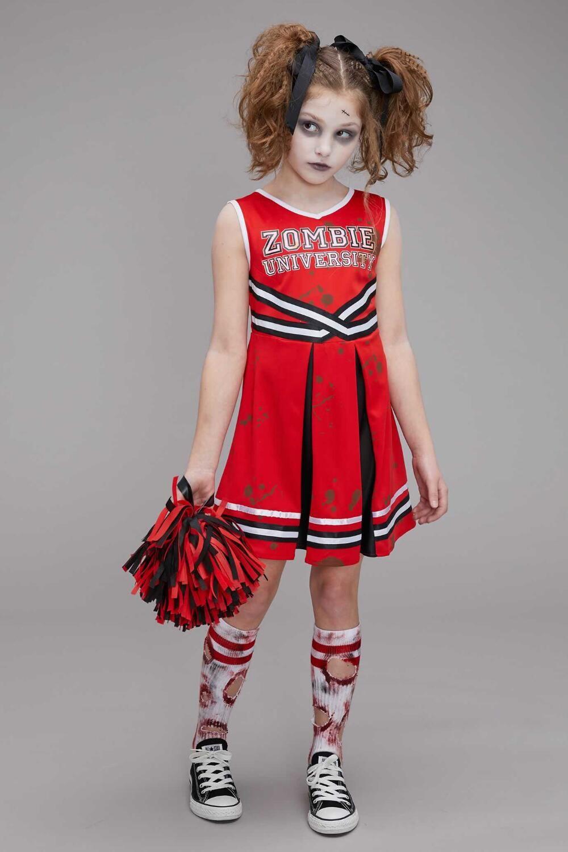 ladies  Halloween Fancy Dress Zombie Cheerleader Costume Girls Teens