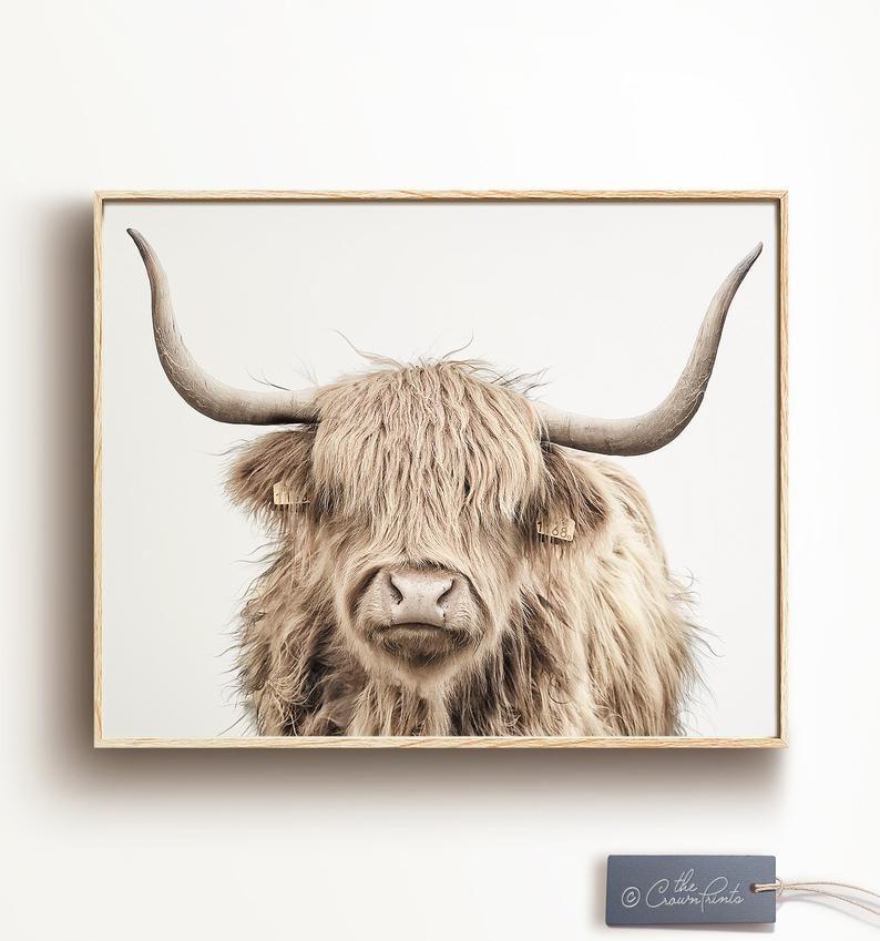 Cow print printable wall art modern farmhouse decor