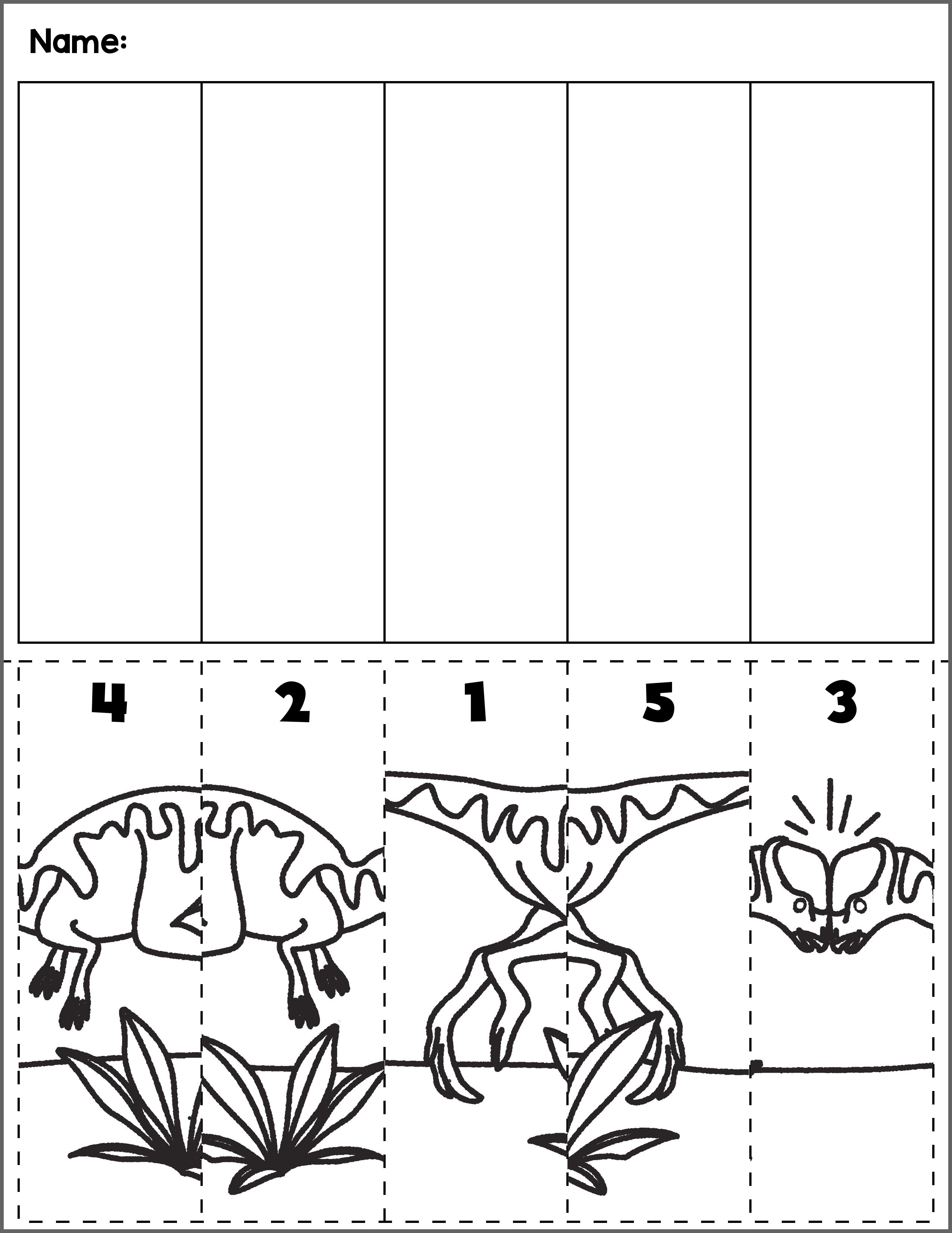 Dinosaur Scene Number Sequence