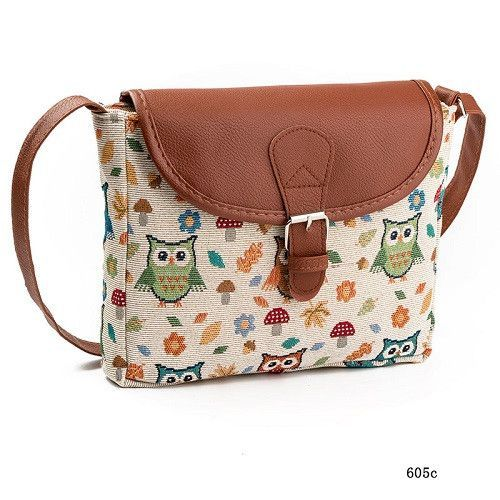 00f42a1b12 Miyahouse Summer Women Messenger Bags Flap Bag Lady Canvas Cartoon Owl  Printed Crossbody Shoulder Bags Small