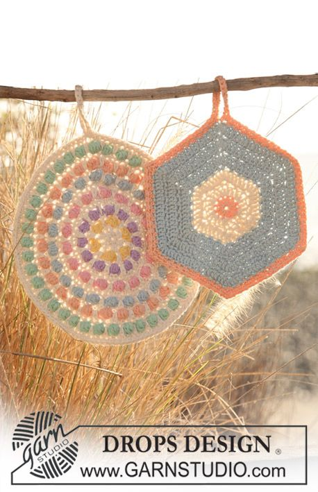 Crochet DROPS pot holders, 1 round with bobbles and 1 hexagon pot ...