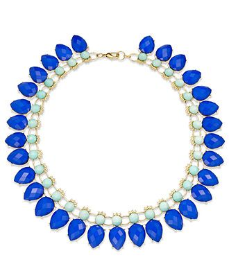INC International Concepts Necklace, 14k Gold-Plated Blue and Teal Two-Row Collar Necklace - Fashion Necklaces - Jewelry & Watches - Macys