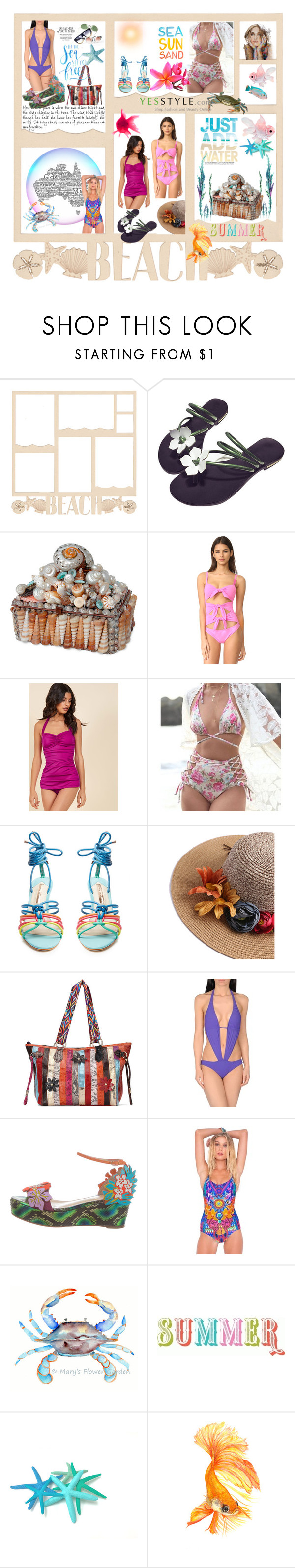 """Just add water 🦀🐠"" by lawvel ❤ liked on Polyvore featuring Moschino, Esther Williams, Dolce&Gabbana, Sophia Webster, Christian Louboutin, Luli Fama and Aquarelle"