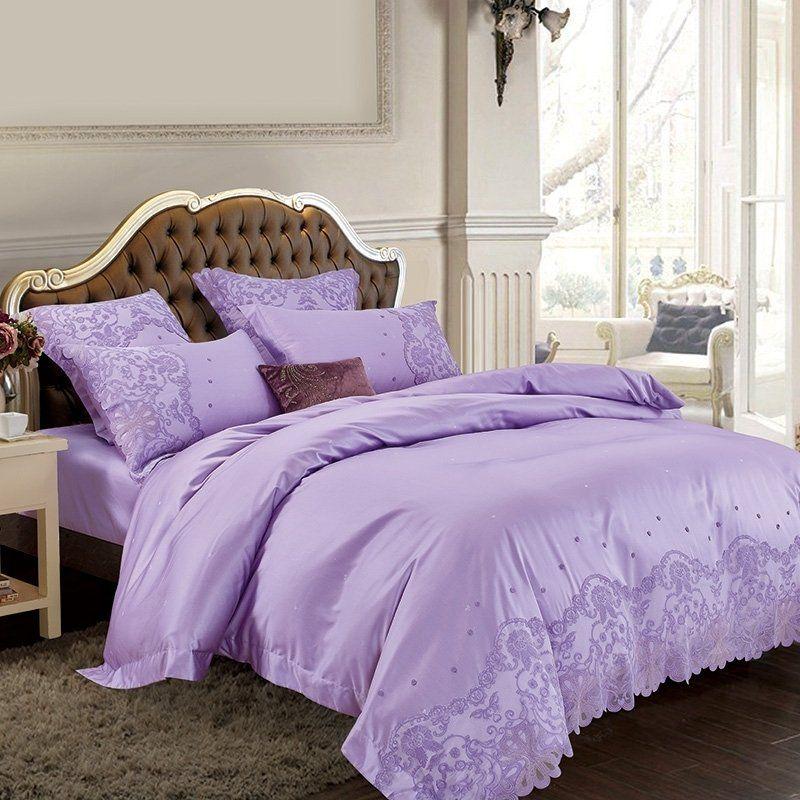 Lavender Purple Bohemian Tribal Pattern Vintage Applique Victorian