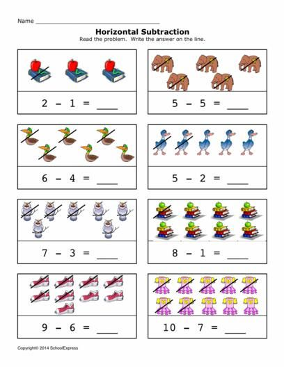 Free Math Worksheets, Subtraction Differences 0-10, Horizontal ...