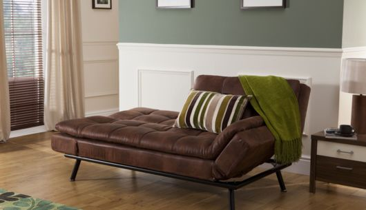 Texas Sofa Bed Distressed Brown Leather