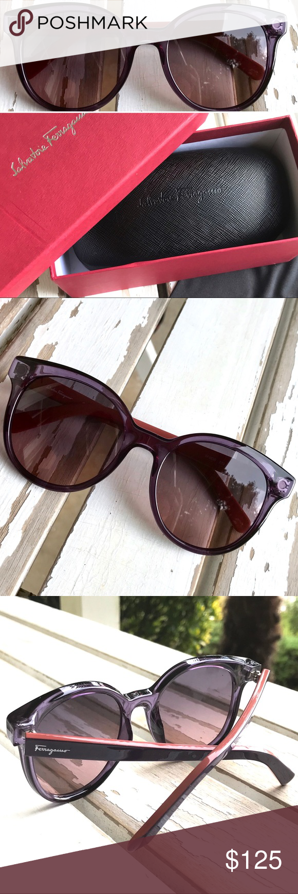 b1698b321 NIB - SALVATORE FERRAGAMO Sunglasses + Case Authentic SALVATORE FERRAGAMO  Sunglasses • Model: SF833S • Color: 513 - Purple/Pink (like a salmon-pink)  • Size: ...