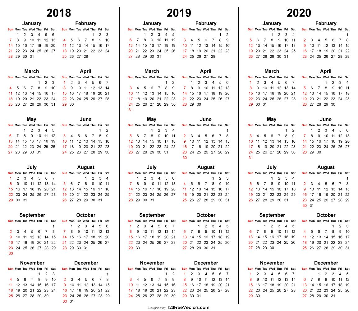 Calendario 2020 Vector Gratis.3 Year Calendar 2018 2019 2020 Printable 2019 Calendar