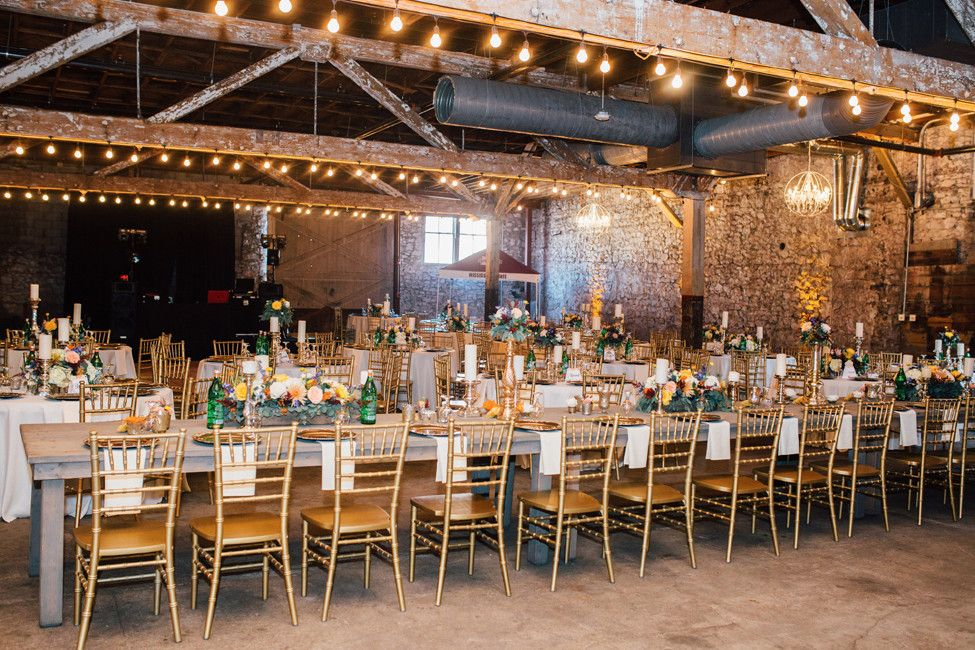 A beautiful, raw reception space at the Hamp Williams
