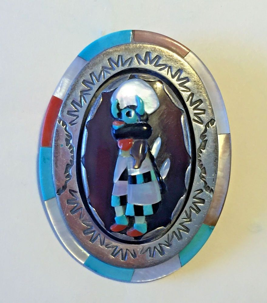 Vintage ZUNI Sterling Silver Turquoise Coral Inlay KACHINA PIN/PENDANT Calabaza
