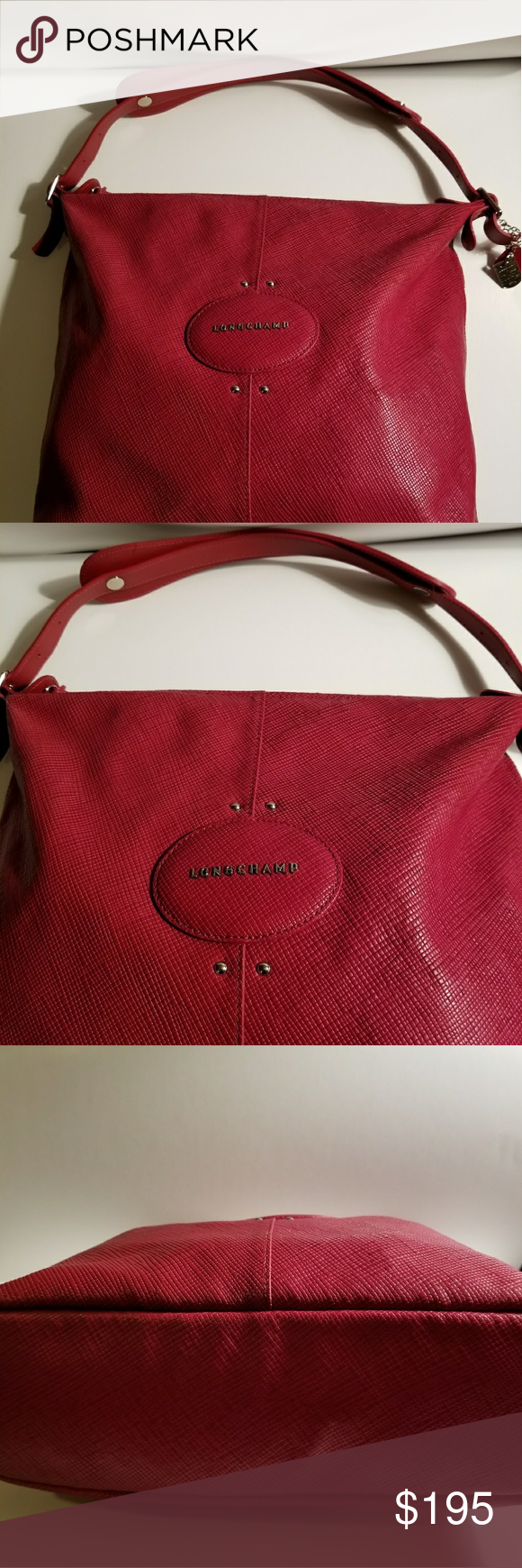Closet Clear Out Sale Longchamp Quadri Hobo Leather Cleaning Quadry Bag True Red Lovely In Signature Cross Hatched Clean Great Condition