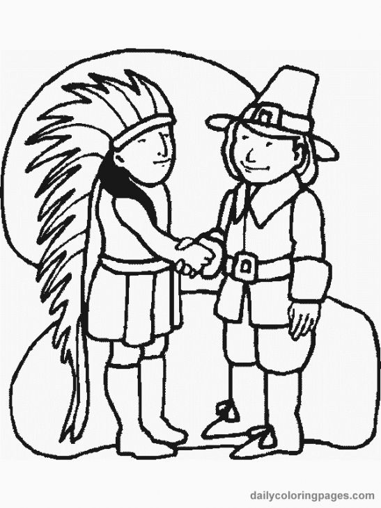Indian And Pilgrim Make Peace On Thanksgiving Coloring Page Free