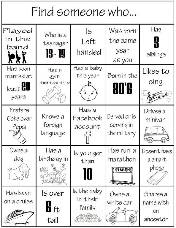 Family Reunion Activities, Family Games, Family Reunions, Family Picnic  Games, Group Games, People Bingo, Wedding Bingo, Ice Breaker Games, Baby  Shower ...
