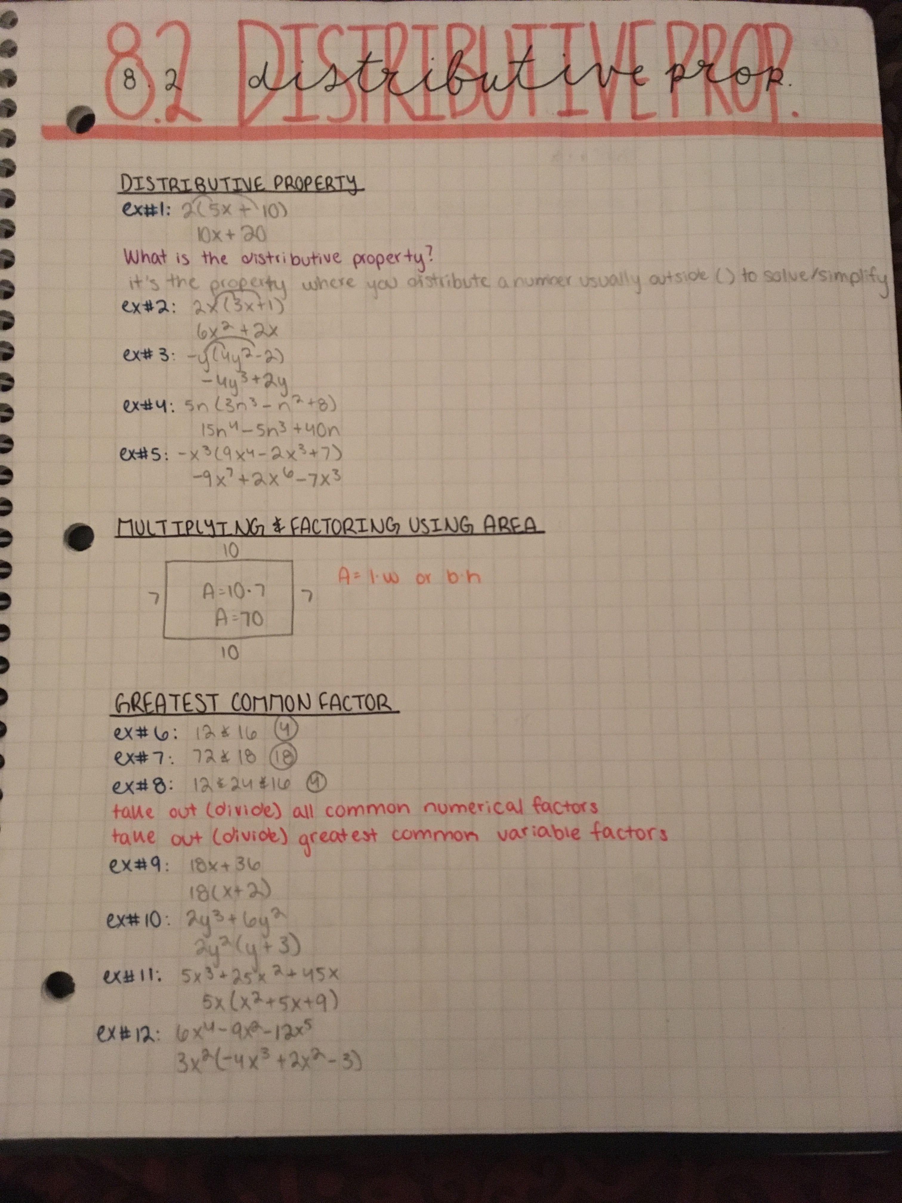 Algebra Distributive Property Notes