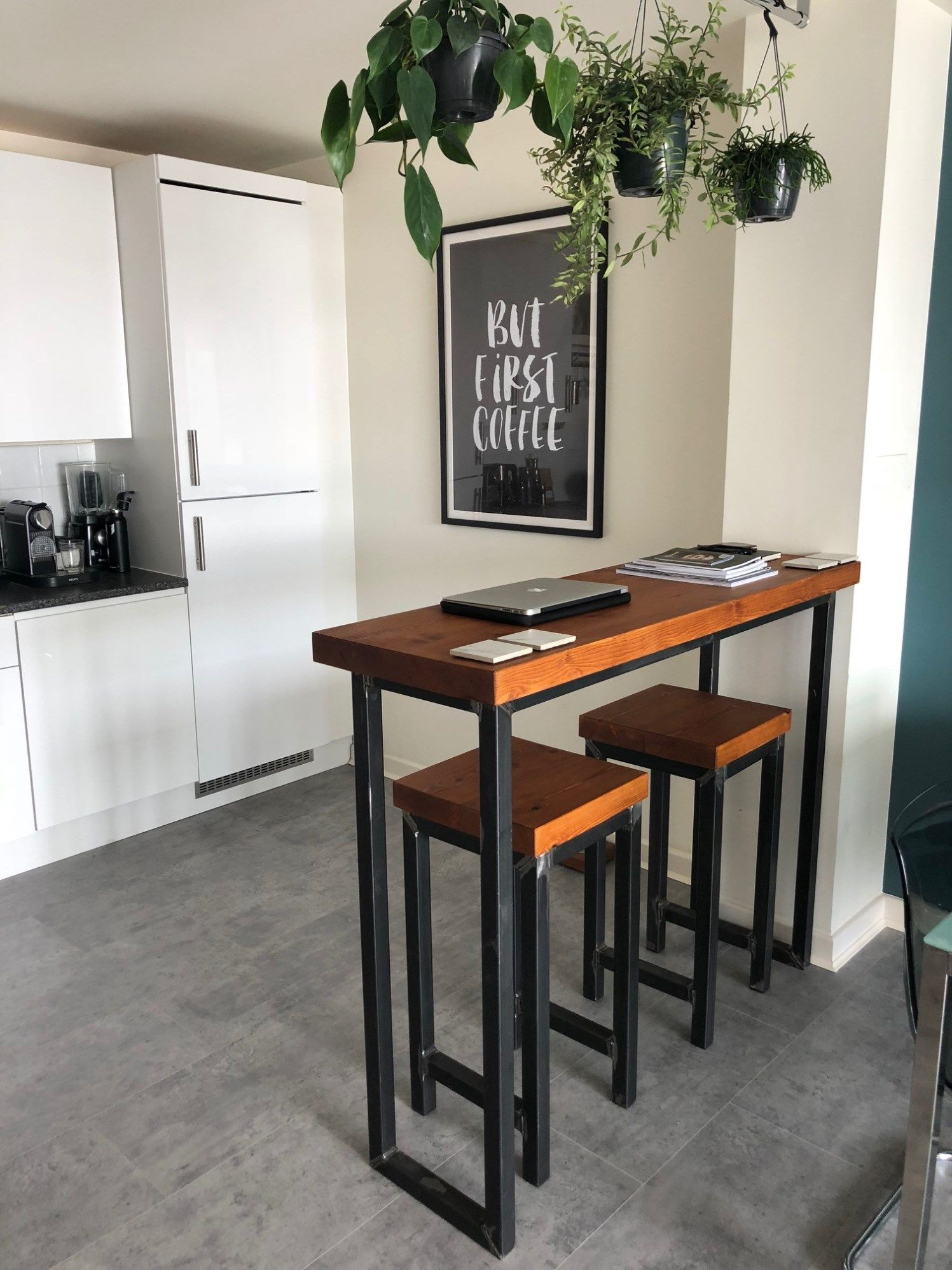 Industrial Mill Style Reclaimed Wood Breakfast Bar + Two Stools ...