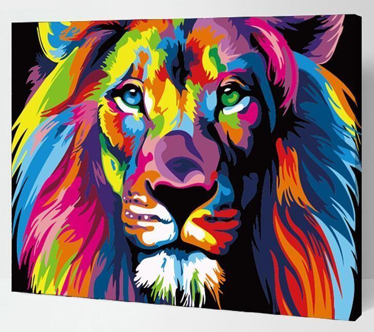Malen Nach Zahlen Mit Rahmen Bunte Lions Neu 50x 40cm Leinwand