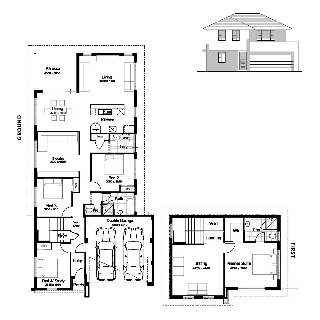 The Broadview Home Floor Plan For 12m Wide Blocks Danmar Homes Floor Plans Modern House Floor Plans House Floor Plans