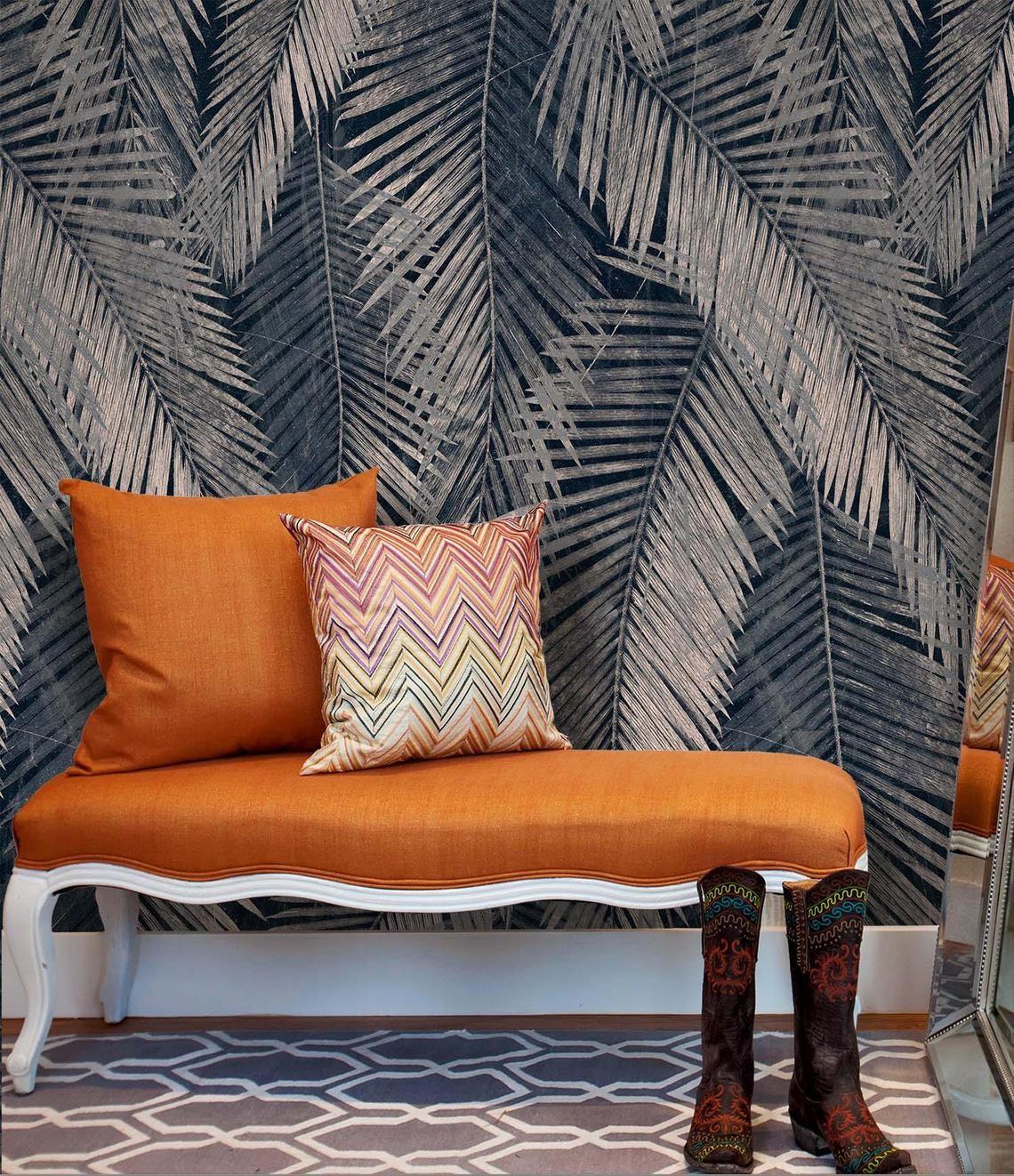 Navy Palm Leaf Wallpaper Sticker, Palm Leaves Mural ...