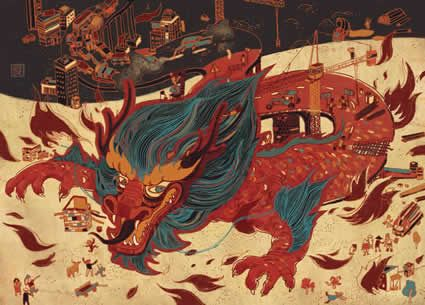 New York, NY artist Victo Ngai  'The Red Highway - China's road of industrialization'