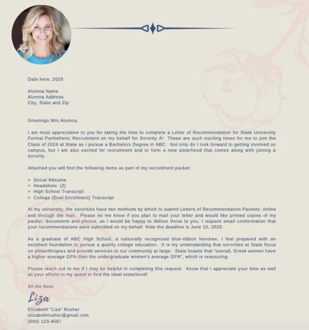 Sorority Rush Cover Letter Lettering Letter Of Recommendation Sorority