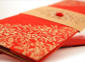 Very pretty Indian-inspired invitations. Would probably do marigold color with gold lettering.