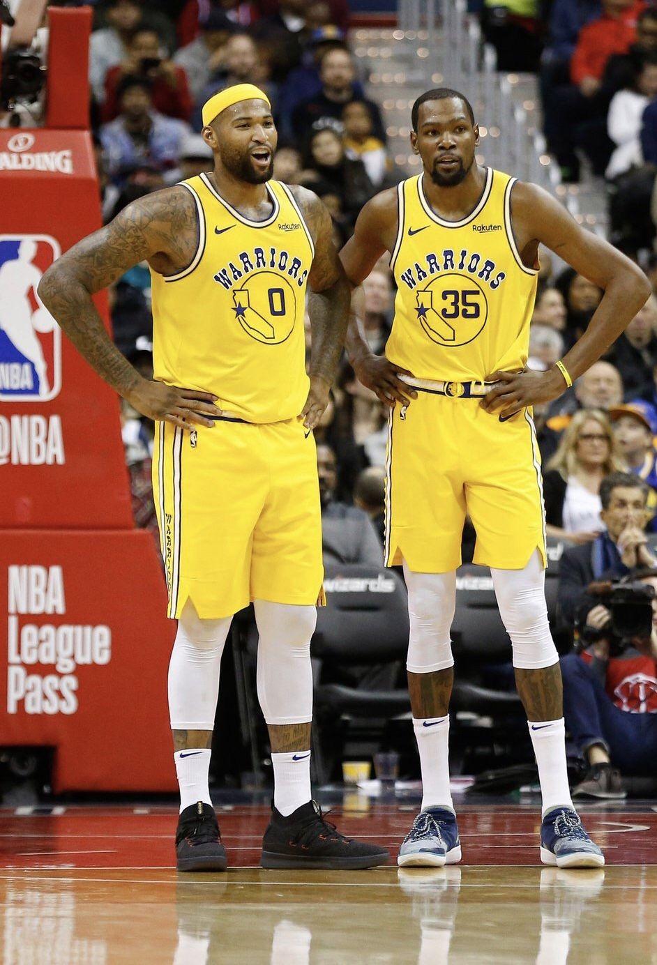 Kevindurant And Demarcuscousins Of The Golden State Warriors Nba Finals Nba Warriors Basketball Team