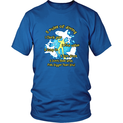 Scuba diving T-shirt - 5 Rules of diving