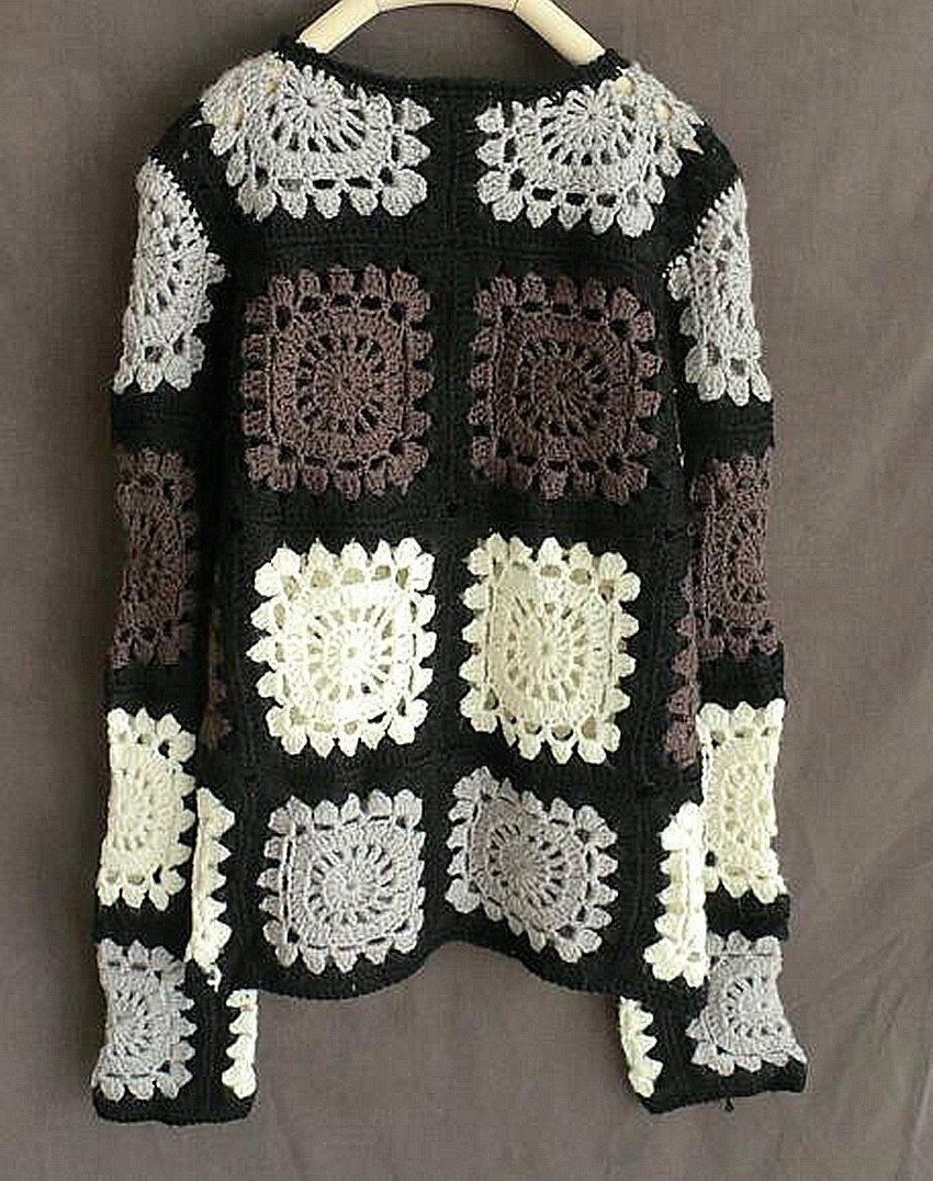 Granny Square Crochet Sweater Long Sleeve Women Jumpers | Crochet ...