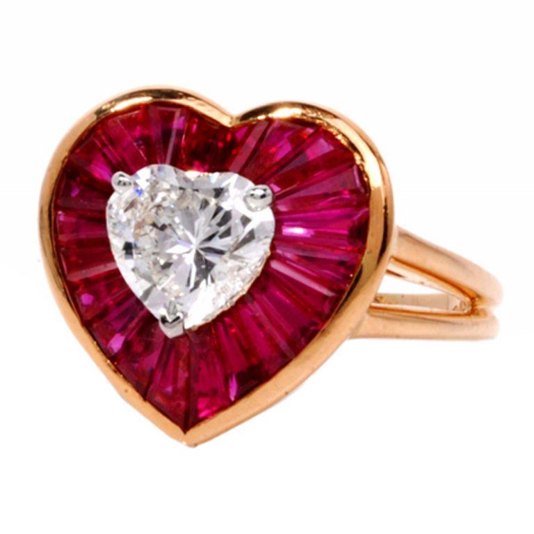 Oscar Heyman 4.59 ct GIA Heart Diamond Ruby Gold Heart Ring