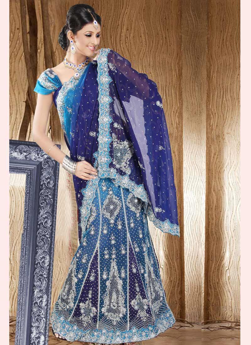 beautiful Blue Embroidered Lehenga Saree
