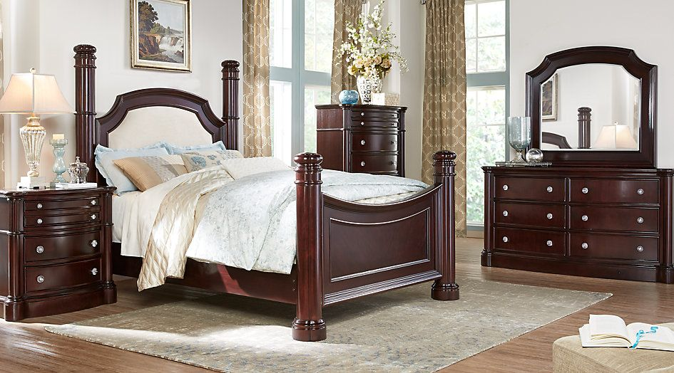 Dumont Cherry 7 Pc Queen Low Poster Bedroom brenda,s bedding - Poster Bedroom Sets