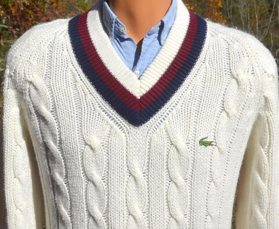 vintage 70s izod LACOSTE sweater v-neck tennis stripes white navy ...