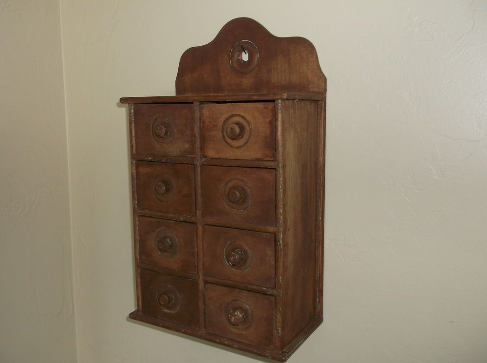 Vintage Eight Drawer Wood Spice Tea Apothecary Cabinet Box. This Measures  Approx. Tall (to The Very Top) And Wide X Deep. The Drawers Are 2 High X  Wide X 4 ...
