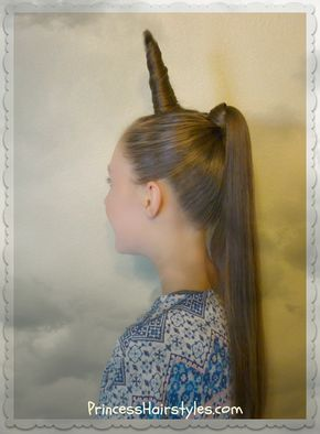 Unicorn Hairstyle For Halloween Or Crazy Hair Day Halloween Hair Wacky Hair Crazy Hair Day Girls
