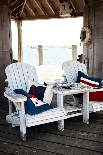 adirondack chairs and nautical themed pillows make a perfect match rh pinterest es