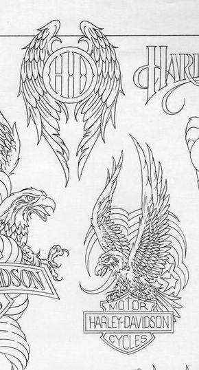 American eagle harley davidson tattoo with blueprint malvernweather Gallery