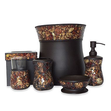 Aroma Collection Metal Mosaic Bath Ensemble Bedbathandbeyond Com Bathroom Accessories Sets Farmhouse Decor Living Room Bed Bath And Beyond