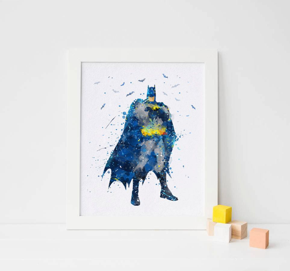 Batman Print, Watercolor Superhero batman decor batman ...