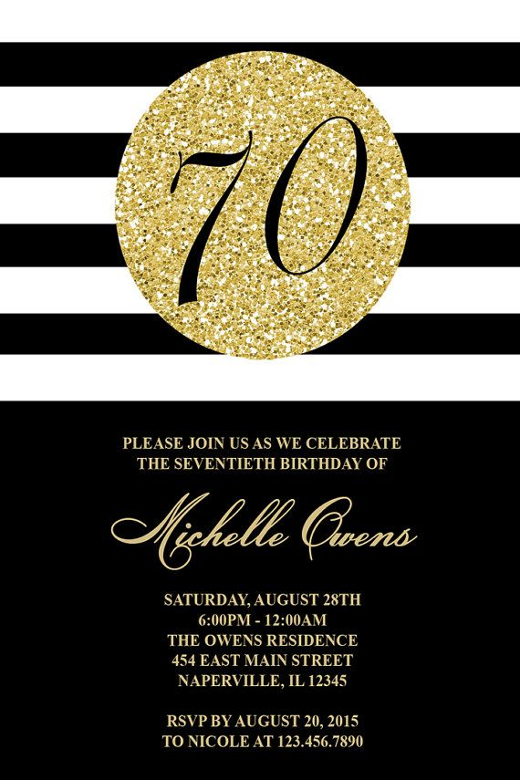 Gold and Black 70th Birthday Party Invitation Black and White