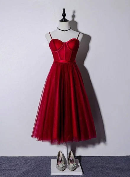Photo of Beautiful Dark Red Tea Length Straps Wedding Party Dress, Homecoming Dress