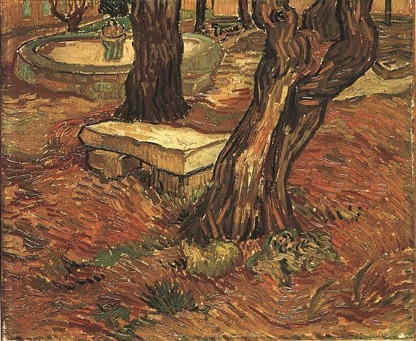 The Stone Bench in the Garden of Saint-Paul Hospital  Oil on canvas  39.5 x 47.5 cm.  Saint-Rémy: November, 1889