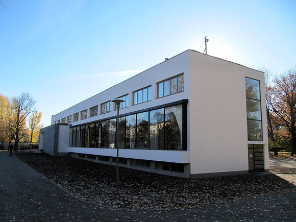 Viipurin Alvar Aalto -kirjaston julkisivu. -- The library was opened in 1935, when Vyborg was still a part of Finland. It is considered an icon of international modernist architecture, and among the most important pre-war Aalto buildings.