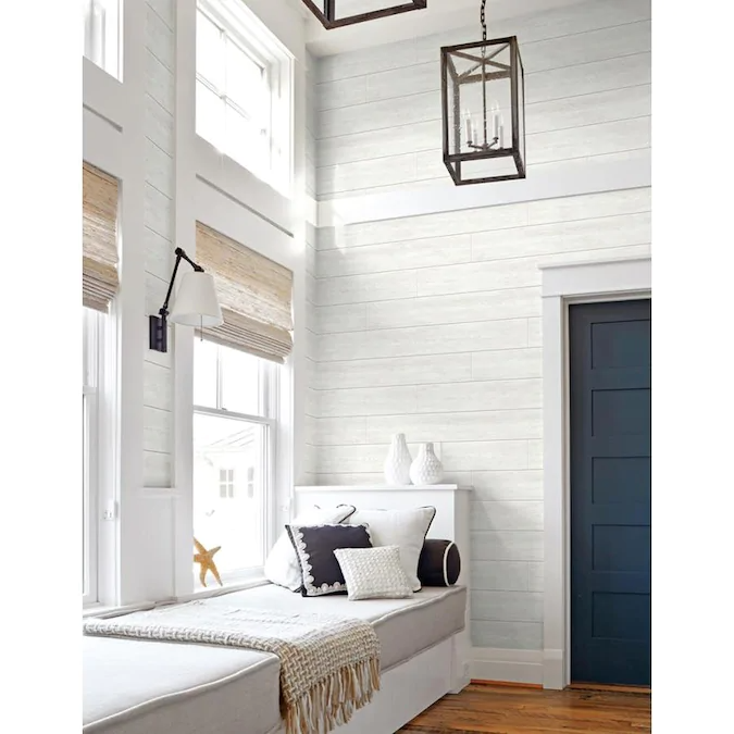 Nextwall 30 75 Sq Ft Off White Vinyl Wood Self Adhesive Peel And Stick Wallpaper Lowes Com White Shiplap Shiplap Peel And Stick Wallpaper