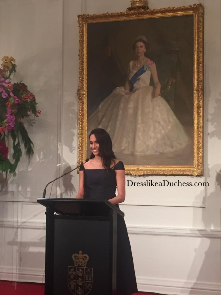 Royal tour day meghan wears black asos maternity dress dress
