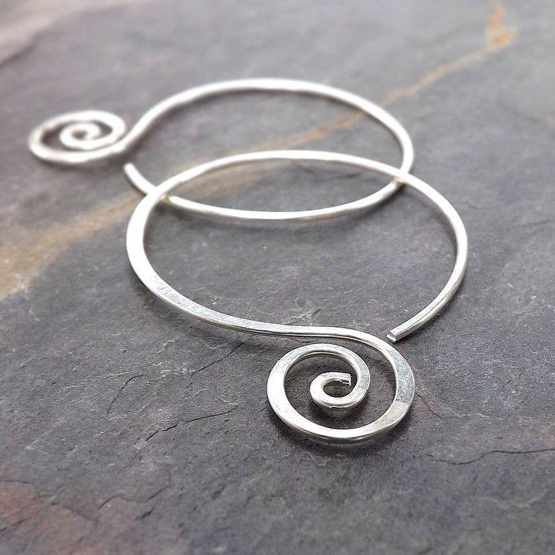 Photo of Silver Hoop Earrings Hammered Open Hoops, Coiled handmade hoop earrings jewelry gift for her, hoop earring statement earrings unique gifts