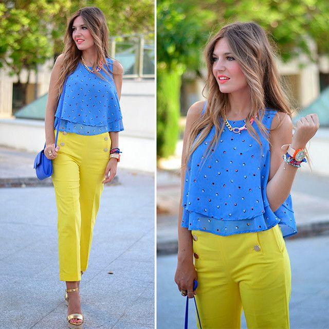 Look Polka Dots Mi Aventura Con La Moda Trendtation Pantalon Amarillo Mujer Pantalones Amarillos Pantalones De Vestir Mujer