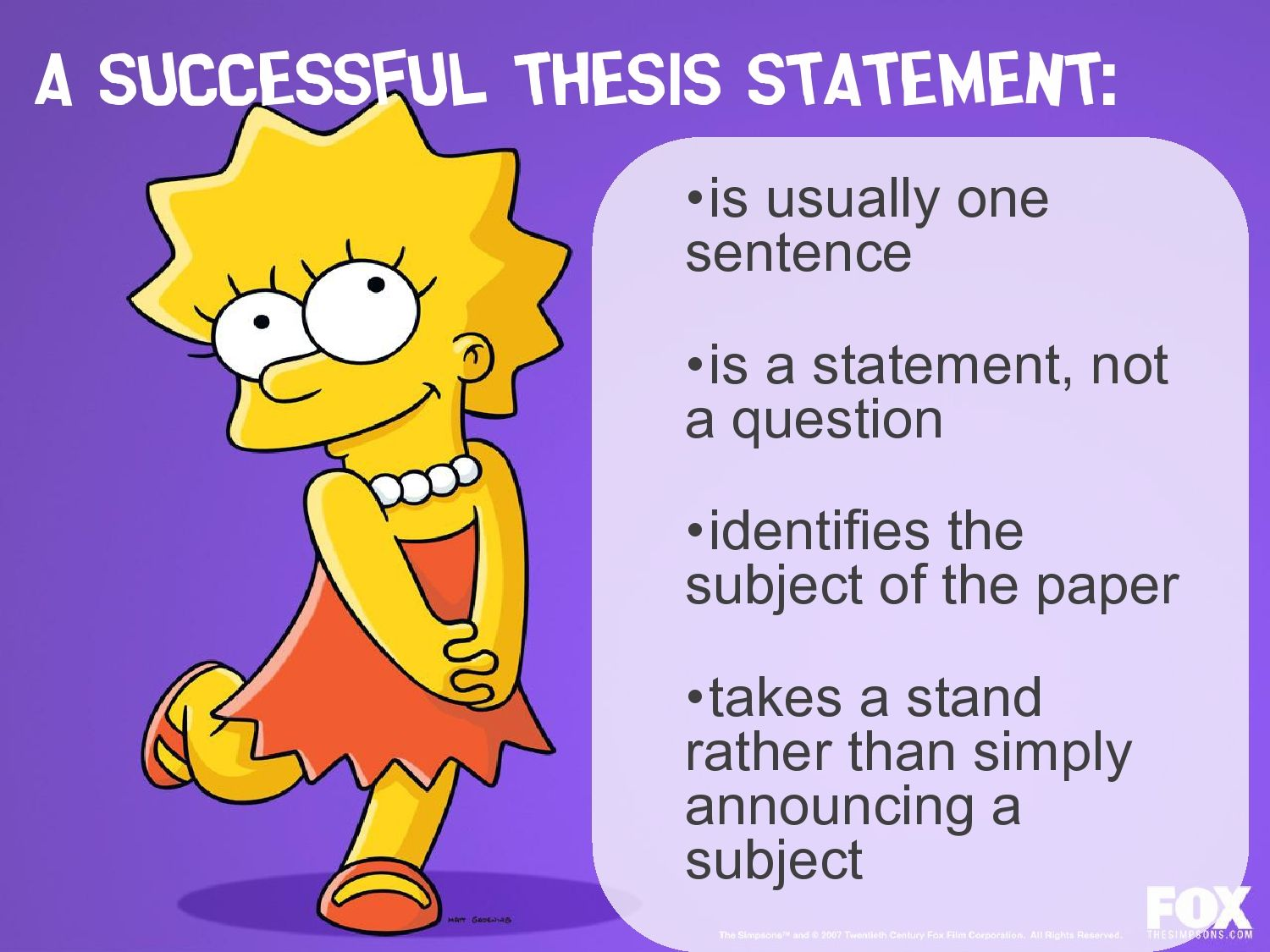 The Benefits Of Learning English Essay Lisa Simpson On Thesis Statements  Topic Sentences Importance Of English Essay also Science Essay Questions Balancing Simplicity And Complexity In Doctoral Writing  Topic  Examples Of High School Essays